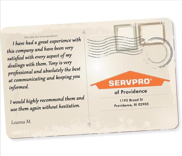 A postcard graphic with a review written on it