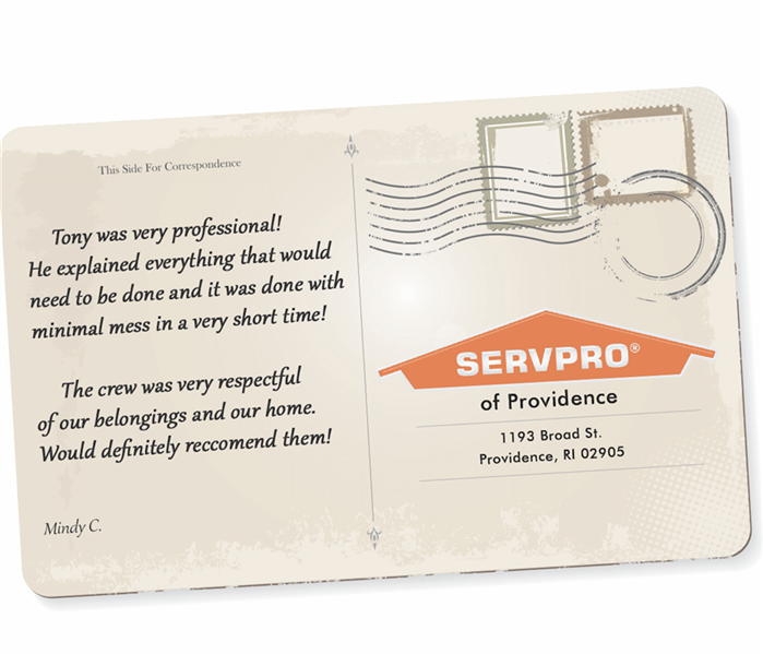A postcard graphic with a review on it