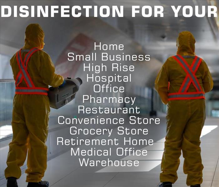 a graphic that says disinfection for your building types
